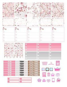 Printable Planner Stickers Cherry Blossom Japanese Japan Erin Condren MAMBI Happy Planner Glam Planning Pink Floral ECLP Vertical Made Easy.  Figure out even more at the picture #scrapbookprintouts
