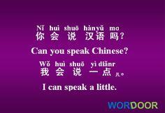 Wordoor Chinese - Useful daily sentences#  Can you speak Chinese ?/ 你会说汉语吗?/ Ni hui shuo hanyu ma?