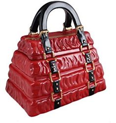 Neiman Marcus Red Pleated Handbag Cookie Jar
