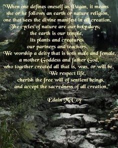There are many who perceive the term Pagan as worshipper of many gods and not of the One Deity, this Pin explains it differently. Let us not be afraid of what we do not know. www.facebook.com/lovewish