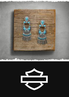 Decked in beads, rhinestones, feather charms, and a Bar & Shield logo. | Harley-Davidson Women's Turquoise Drop Earrings