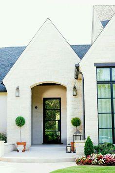 "exterior brick paint color is ""Sherwin Williams SW 7036 Accessible Beige"" Exterior Paint, Exterior Design, Interior And Exterior, Stone Exterior Houses, Ranch Exterior, Bungalow Exterior, Interior Doors, Home Design, Design Ideas"