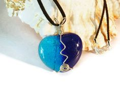 Two Tone Blue Wire Wrapped Fused Glass Heart by uniquenique, $30.00 #onfireteam #lacwe #teamfest