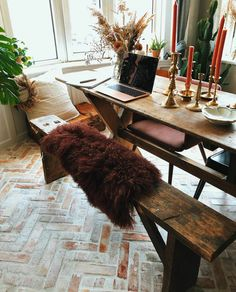 Rustic Worspace with Warm Colors in a Cozy Family Home in Copenhagen — The Nordroom Scandinavian Apartment, Scandinavian Home, De Gournay Wallpaper, Best Color Schemes, Pink Walls, Stone Flooring, Autumn Home, Warm Colors, Cozy House
