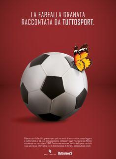 """Campagna stampa sponsorizzazione dei dvd del fuoriclasse Gigi Meroni, ribattezzato """"la farfalla granata"""".  #tuttosport #farfalla #soccer #GigiMeroni #print #advertising"""