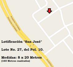 """SE VENDE LOTE: No. 27 del polígono 10. Ubicado en lotificación """"San José"""". Olocuilta, La Paz. El lote mide, 8 x 20 metros (160 metros cuadrados). $4,500.00 Negociables. Más información, al t..."""