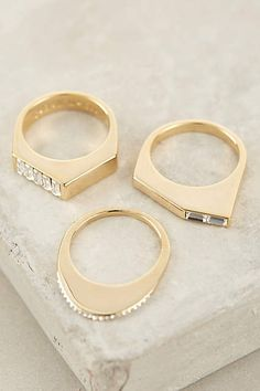 Gilded Collage Stacked Rings - anthropologie.com