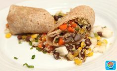Black Bean Wrap with Jicama-Grilled Corn Salsa #veggies #grains #MyPlate #WhatsCooking