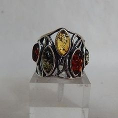 Amber & Sterling Silver Ring with Multi-Coloured Stones - gaia rising metaphysical