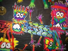 5th/4th Grade Dragons- Chinese New Year.(analogous colors)Paintbrush Rocket