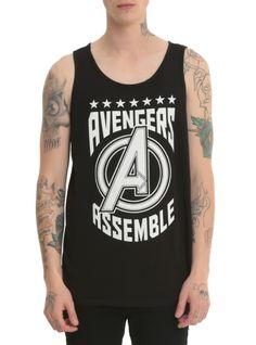Black tank top with an Avengers Assemble varsity design.