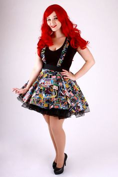 Suspenders Star Wars Comic Circle Skirt by 1138Clothing on Etsy Costumes Couture, Nerd Outfits, Star Wars Comics, Star Wars Tshirt, Geek Fashion, Plus Size Skirts, Novelty Print, Unique Outfits, Suspenders