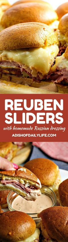 Get ready for game day with these Reuben Sliders with Homemade Russian Dressing...they're an easy to make appetizer recipe that everyone will love!
