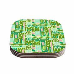 "Kess InHouse Amy Reber ""Maze"" Green Vector Coasters (Set of 4) 4""x 4"" (Maze) (Wood)"