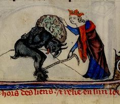 Devil roped and burdened, (with what?) by a King. Book of Hours. Sarum. 14th cent. England. YT 13 BL, via Flickr.