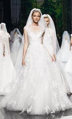 """Monceau"" lace and organza A-line wedding dress with an illusion bateau neckline, cap sleeves, and beaded details. Elie Saab - Spring 2013 The dress is in good condition. Professionally dry cleaned. R"