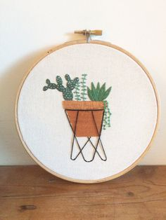 Mid Century Cactus Embroidery Hoop Art / by LittleFlossStudio