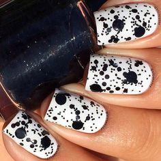 Black and White Splattered Nail Design