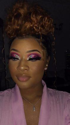 Black Makeup Looks, Light Makeup Looks, Asian Makeup Looks, Glitter Makeup Looks, Black Girl Makeup, Pink Makeup, Girls Makeup, Glam Makeup, Eye Makeup