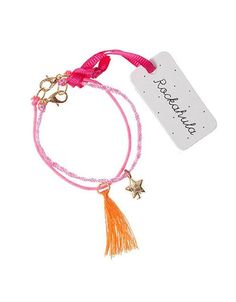 Rockahula Pink & Lilac Cord Charm Braclet Set: Each of these Rockahula cord bracelets features a tiny charm - a gold star and a resin flower - and fastens with a gold metal clasp. So delicate and pretty. A lovely treasure to wear and keep forever. Matching necklace also available.