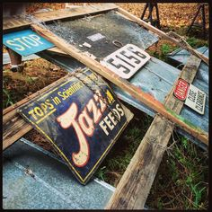 Look what was hiding behind one of the pole barn doors! #oldsigns #oldsign #jazzfeeds #foundobjects #salvage #silverlox #silverloxhomestead