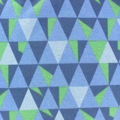 Tissu sweat envers minkee Graphik bleu/anis x 10cm
