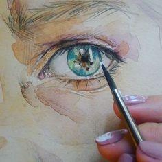 Кто угадает этот особенный тревожный #взгляд ? #глаза #рисунок #живопись #акварель #watercolor #painting #eyepainting #eyes #необычныеглаза
