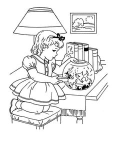 Feeding Goldfish Winter Season Indoor Activities Coloring Page : Coloring Sun Online Coloring Pages, Coloring Pages For Kids, Coloring Sheets, Indoor Activities, Free Coloring, Goldfish, Winter Season, Folk, Seasons
