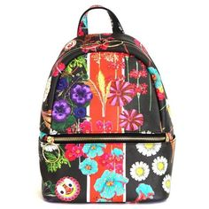 Cynthia Rowley Leona Floral Backpack ($95) ❤ liked on Polyvore featuring bags, backpacks, black multi, floral backpack, flower print bag, floral print bags, flower print backpack and zip bag