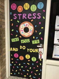 Donut Stress door decor just in time for spring testing season!