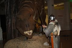 Boewulf and the dragon 2 (Saxon Warrior and T.Rex). Taken at the T.Rex - the Killer Question exhibition.