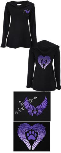 Wings of an Angel Purple Paw Hooded Tunic at The Animal Rescue Site $24.95 to $26.95.  i love it