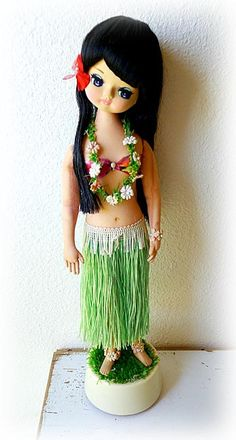 1960's Vintage Hula Girl Pose Doll Japan Bradley Hawaiian Musical Big Eye Eyed Mod