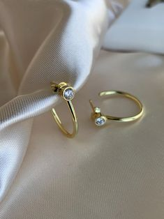 Everyday jewelry made with love. Small Gold Hoop Earrings, Gold Earrings Designs, Sterling Silver Earrings, Golden Earrings, Gold Necklace, Cubic Zirconia Earrings, Minimalist Earrings, Gold Hoops, Jewelry Trends