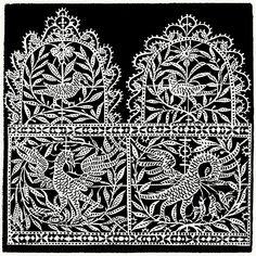 Reticella, plate B 3.    From I singolari e nuovi disegni per lavori di bianchería (Remarkable and new designs for linen work), by Federico de Vinciolo, Bergamo, 1909.