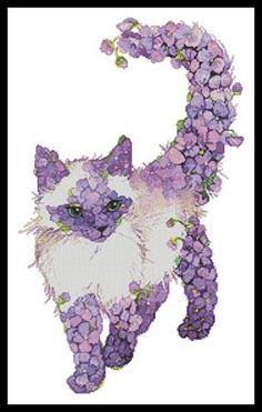 Cross Stitch Craze: Cat Cross Stitch Lilac Lavender Purple Cat