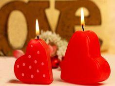 Velas con forma de corazón para San Valentín