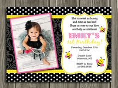 Printable Bumble Bee Birthday Invitation   First birthday party idea   Bug   FREE Thank You Card Included   Matching Party Package Available! Banner   Cupcake Toppers   Favor Tag   Food and Drink Labels   Signs   Candy Bar Wrapper   www.dazzleexpressions.com