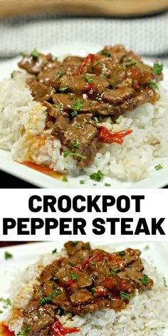 If you are looking for an easy but delicious crock pot dinner idea then this Crockpot Pepper Steak Recipe is for you! #crockpotrecipes #slowcooker #steak #dinner #easyrecipes #cooking