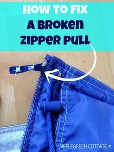 How to fix a broken zipper pull...timely, because part of the zipper pull is broken on my everyday winter coat.