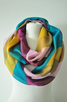 Multicolor infinity ScarfGreen Purple &YellowCowl by OYASHOP