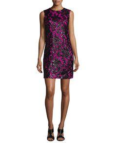 TB2F6 Diane von Furstenberg Sleeveless Floral Shift Dress, Black/Hot Orchid