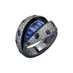 High Jewellery ring High Jewellery Panthère de Cartier Cartier Royal ring, platinum, baguette-cut sapphires, cabochon-cut sapphires, black lacquer, brilliant-cut diamonds.