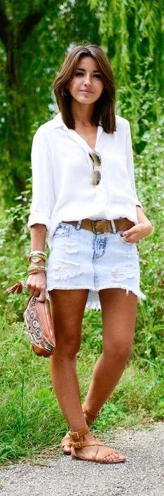 Spring / Summer - street chic style - beach style - white chiffon shirt + aviators + brown wide belt + denim mini skirt + brown sandals