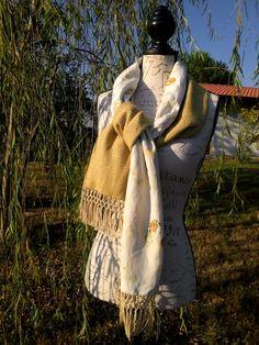 Sciarpa seta pura, DOUBLE FACE, tessuto a mano e stampato ecoprint. di BLEUPOMdesign su Etsy
