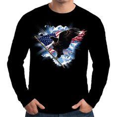 Velocitee Mens Long Sleeve T Shirt American Eagle USA America Biker  A17995 #Velocitee