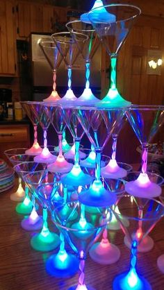 Another rad shot of our stacked Light Up Martini Glasses on ladies night. It's a Girls-Night-Out HIT! Those LEDs change color, soooo dreamy. Neon Birthday, 18th Birthday Party, Sweet 16 Birthday, 80s Party, Disco Party, Party Time, Glow In Dark Party, Glow Party, Blacklight Party