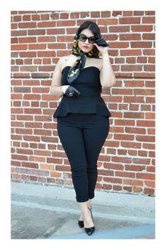 nadia aboulhosn, all black outfit, peplum, heels Curvy Girl Fashion, Black Women Fashion, Love Fashion, Plus Size Fashion, Fashion Outfits, Womens Fashion, Moda Pinup, Moda Xl, Estilo Rock