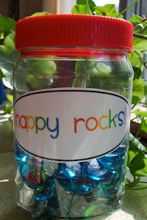 behavior management idea- students get a happy rock when they are caught being good.  Good for whole group and individual incentives.