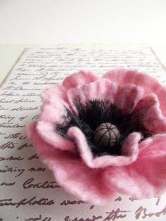 Hand Felted Flower Brooch Wool Felt Jewelry ❤ by ShishLOOKdesign